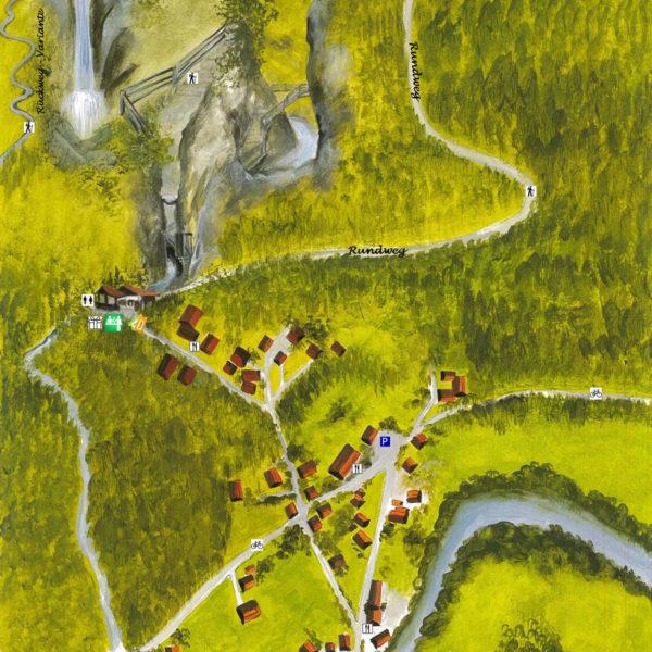 Karte der Raggaschlucht - Rundweg